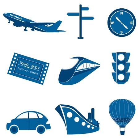 illustration of set of transportation icons on isolated background illustration