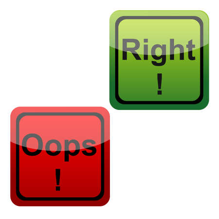 stupidity: illustration of set of oops and right icons n isolated background Stock Photo