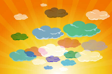 illustration of set of colorful clouds in summer sky Stock Illustration - 8112462
