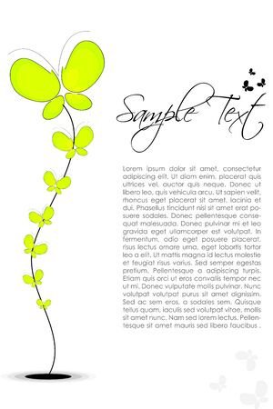 plant delicate: illustration of abstract floral text template with plant of butterfly Stock Photo