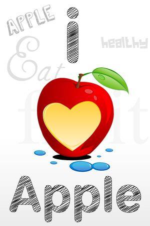apple bite: illustration of apple with heart shape bite in it