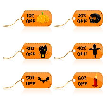 illustratin of set of halloween discount tags photo