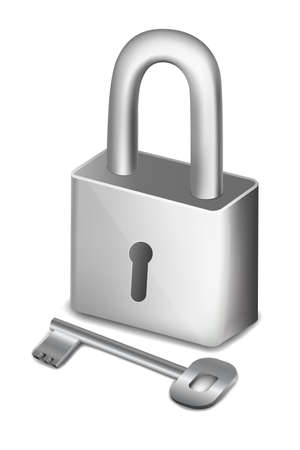 pad lock: illustration of isolated pad lock with key