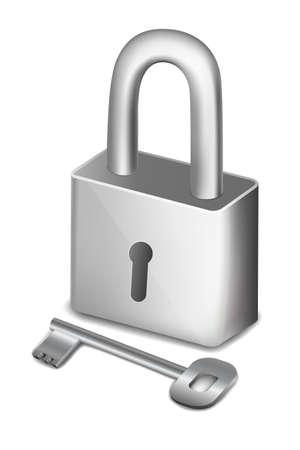 illustration of isolated pad lock with key illustration