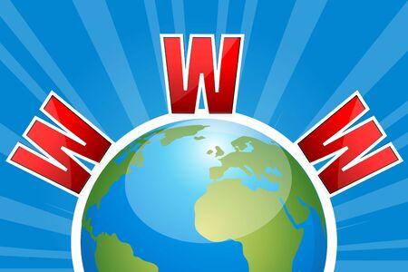 wehosting: illustartion of www text on globe against sunburst background Stock Photo