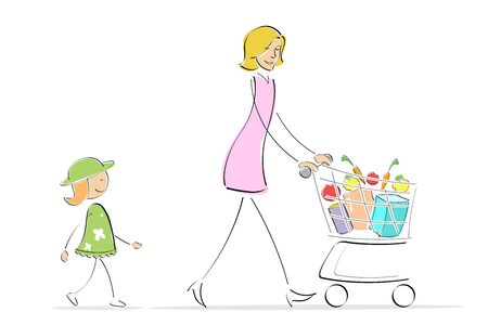 illustration of mother and daughter shopping while mother is pushing shopping trolley illustration