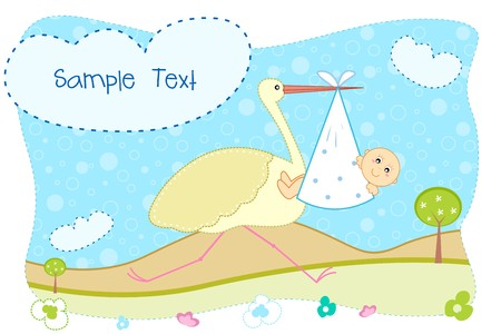 illustration of baby aarival announcement card with stork carrying baby illustration
