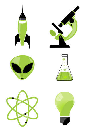 illustration of set of scientific icon on isolated background Stock Illustration - 8112414