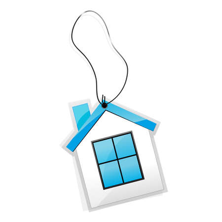 illustration of tag in shape of house tied with thread Stock Illustration - 8112409