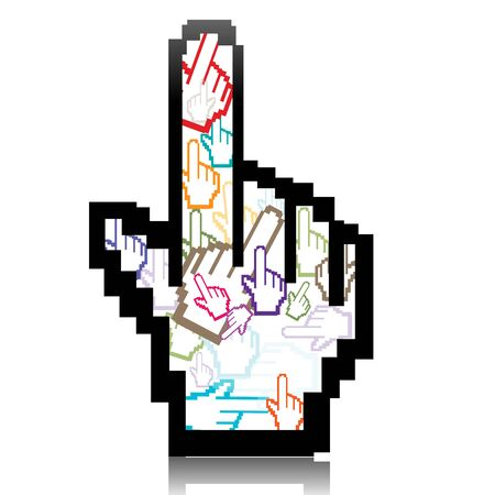 illustration of hand cursor made of many colorful hand cursors Stock Illustration - 8112438