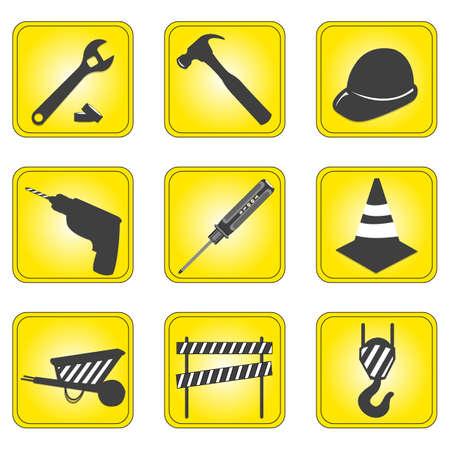 illustration of set of underconstruction icons illustration