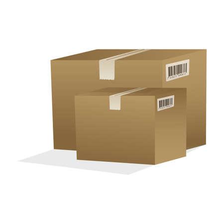 illustration of cardboard boxes on isolated background Stock Illustration - 8112344