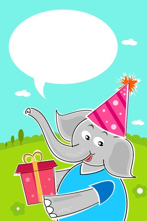 illustrtion of elephant with birthday gift photo