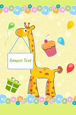 illustration of giraffe with sample text board on birthday background illustration