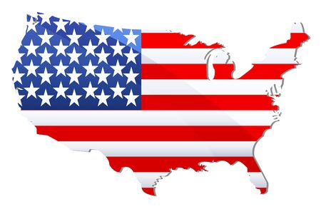 illustration of flag of united states of america in shape of geographical map Stock Illustration - 8112494