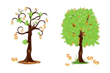 illustration of dollar trees showing profit and loss illustration