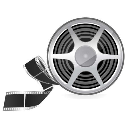 35mm film motion picture camera: illustration of film roll on isolated background