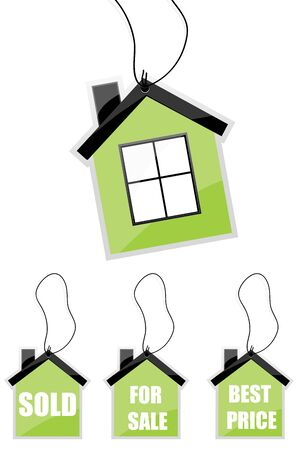 illustration of tag of house with different text on isolated background Stock Illustration - 8112448