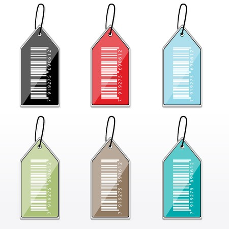 illustration of set of colorful barcode tags Stock Illustration - 8112557
