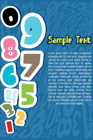 illustration of numbers on numeral background with sample text illustration