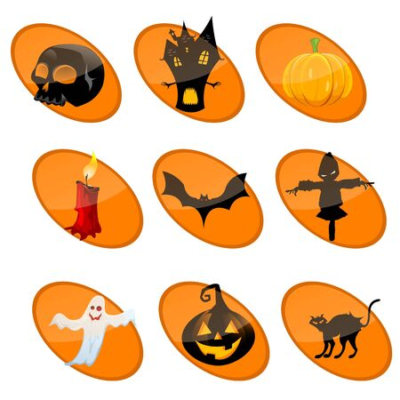 illustration of different elements of halloween on isolated background illustration