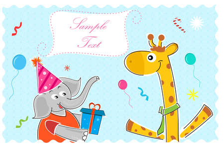 illustration of elephant wishing giraffe happy birthday illustration