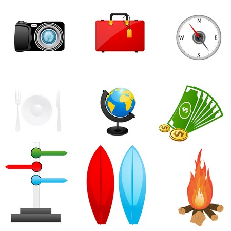 illustration of set of travel icon on siolated background Stock Illustration - 8112530