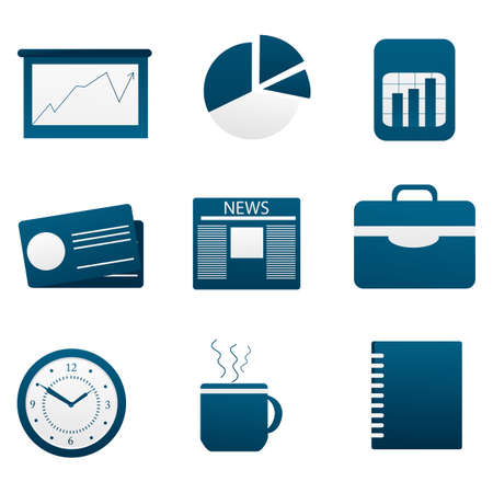 datebook: illustration of set of different business icon on isolated background