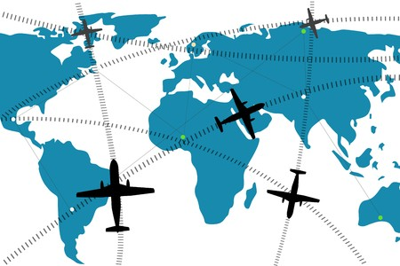 flightpath: illustration of airline route on world map Stock Photo