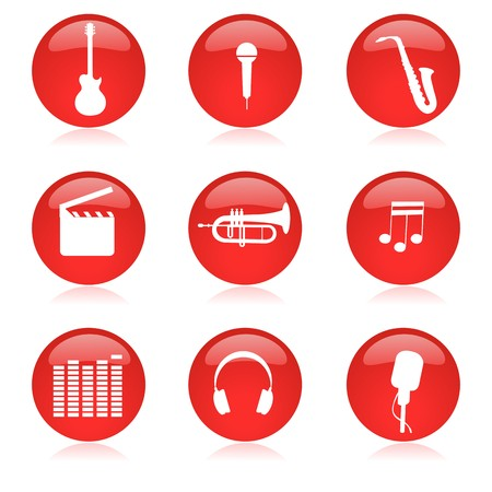 illustration of music icon set on isolated background illustration