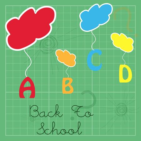 illustration of abc hanging from clouds illustration