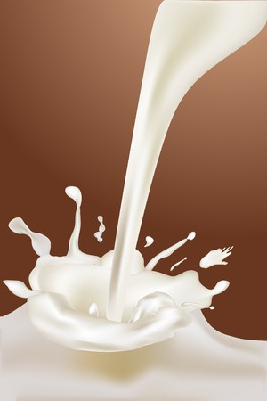 milk shake: illustration of milk pouring on dark gradient background