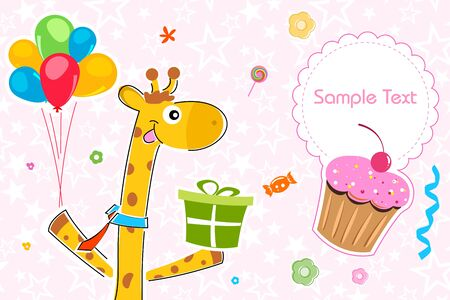 illustration of giraffe with gift on birthday background Stock Illustration - 8112565