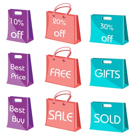 illustration of set of shopping bags with tags on isolated background Stock Illustration - 8112528