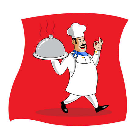 illustration of cook serving food Stock Illustration - 8112442