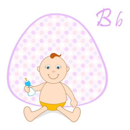 illustration of b for baby sitting on abstract vector background illustration