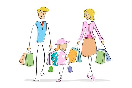 illustration of family with shopping bags Stock Illustration - 8112521