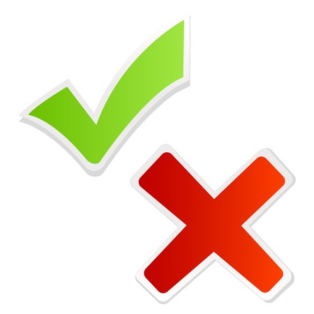 yes check mark: illustration of green tick mark and red cross on isolated background Stock Photo