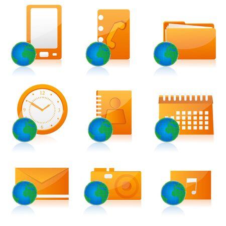 illustration of set of different office icon Stock Illustration - 8112542
