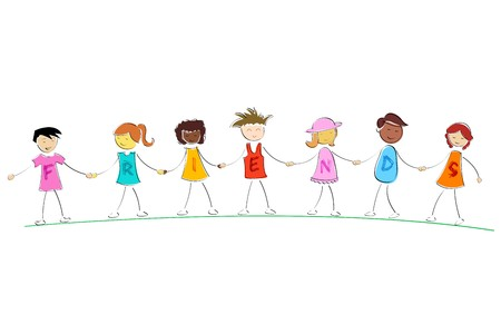 illustration of friends standing while holding hand of each other illustration