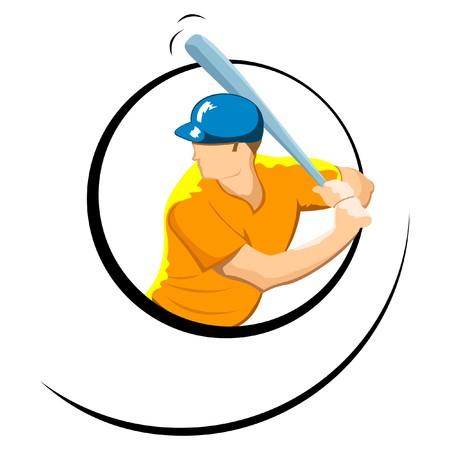 illustration of baseball player on an isolated background illustration