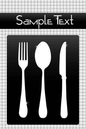 illustration of set of cutlery on checked background with sample text illustration