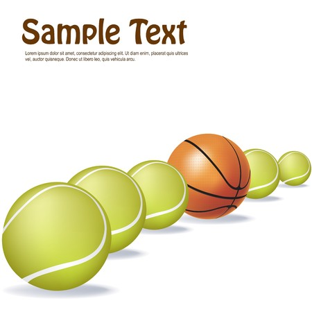 tennisball: illustration of tennis and basket ball in a row with sample text