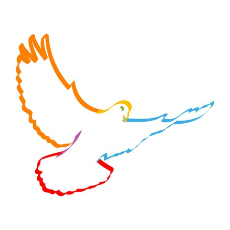 doves: illustration of colorful dove symbolising peace Stock Photo