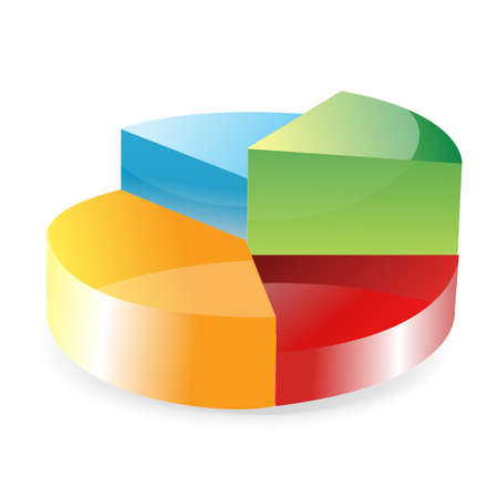 progressive: illustration of progressive pie chart on isolated white background