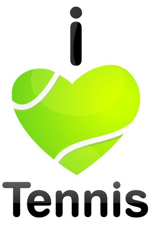 illustration of i love tennis Stock Photo