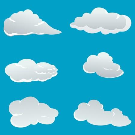 illustration of set of different clouds Stock Illustration - 8112610