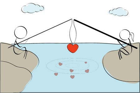 a marriage meeting: illustration of couple fishing heart Stock Photo