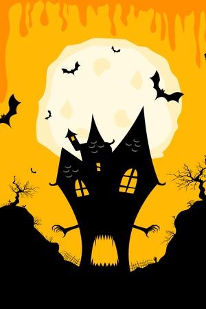 illustration of haunted halloween house illustration