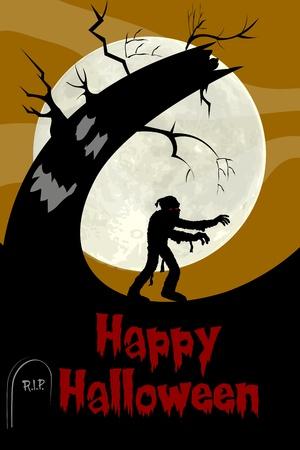 illustration of halloween mummy in scary night Vector